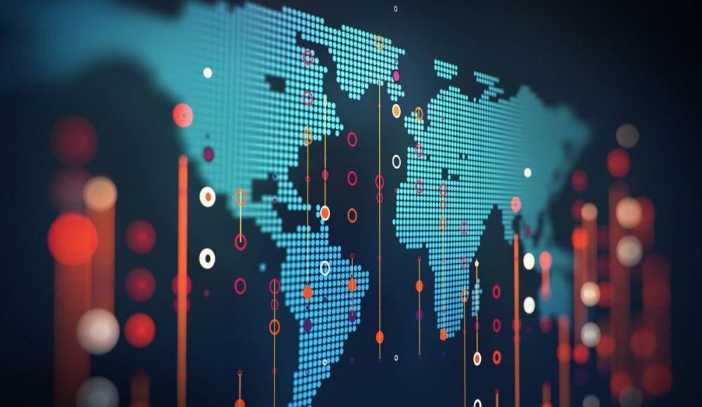 Carte mondiale lumineuse avec point lumineux sur des pays